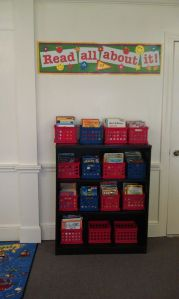 This is part of our classroom library at Jubilee Academy. Books are grouped by reading level, so students may find something on their level without having to hunt.