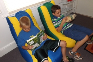 Students enjoy one of the special reading areas at Jubilee Academy.